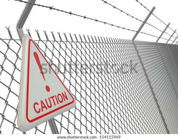 Caution. barbed wire fence with sign. 3d