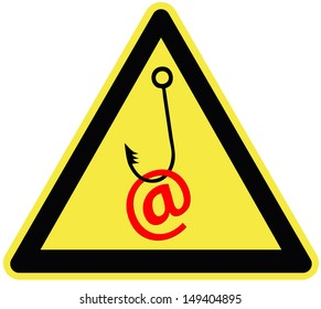 Caution email fraud. Symbol for the importance of protecting email traffic and passwords