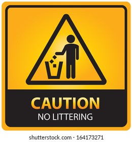 Caution with no littering text and sign isolated. JPG