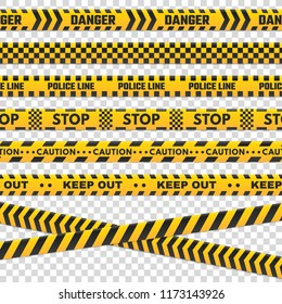 Caution perimeter stripes. Isolated black and yellow danger police line do not cross for criminal scene. Security lines sign or barricade tape  set