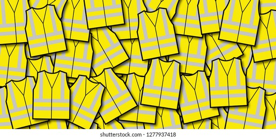 Caution Reflective road industry safety vests jacket Yellow vest Protesters Protest protests Demonstrators reflection movement Fun banner Security guarad police Firefighter reflective safety vest fun