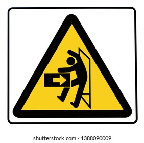 Caution swinging machinery, with the silhouette of a person hit by side.  Hazard sign