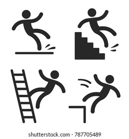 Caution symbols with stick figure man falling. Wet floor, tripping on stairs, fall down from ladder and over the egde. Workplace safety and injury illustration.