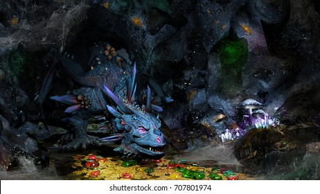 Cave with dragon, jewels and golden coins. 3D illustration.