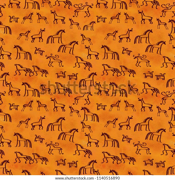 Cave paintings seamless pattern. Ethnic animals sketch for your design.
