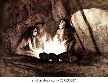 cave people by the fire, Neanderthals in the cave, the original illustration by sepia