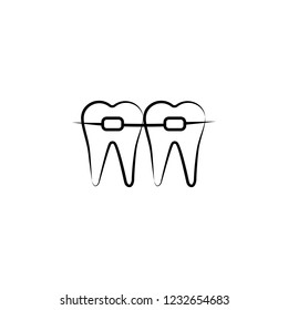 caveat, dental, filling icon. Element of dantist for mobile concept and web apps illustration. Hand drawn icon for website design and development, app development