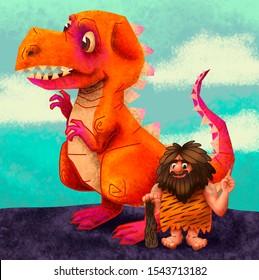 caveman man cave dinosaur t rex prehistoric  jurassic