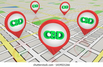 CBD Cannabidiol Marijuana Cannabis Map Pins Store Locations 3d Illustration