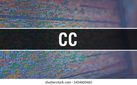 CC with Binary code digital technology background. Abstract background with program code and CC. Programming and coding technology background. CC with Program listing