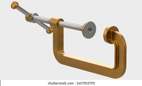 C-Clamp isolated on background. 3d rendering - illustration