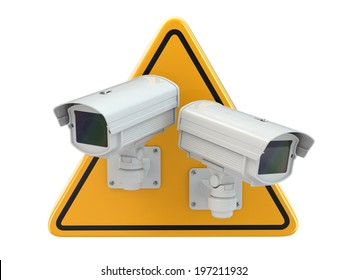 CCTV Camera. Video surveillance sign on white isolated background. 3d