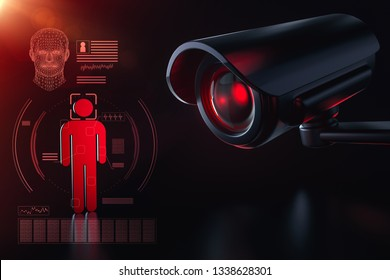 Cctv is checking information about citizen in surveillance security system concept. Big brother is watching you concept. 3D rendering