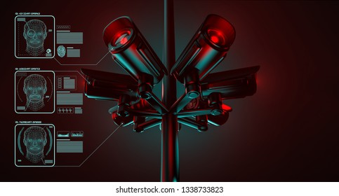 Cctv is checking information about citizens in surveillance security system. Big brother is watching you concept. 3D rendering