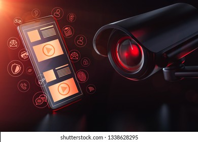 Cctv invigilates apps and mobile data traffic on a smartphone. Privacy, Surveillance and Data Tracking concept. 3D rendering