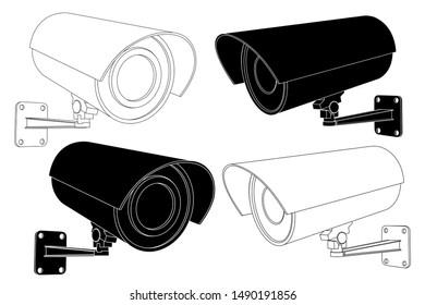 CCTV security camera set. Black and white outline illustration isolated on white background. Raster version
