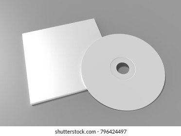 Cd or dvd disk with cover on grey background, 3d illustration.