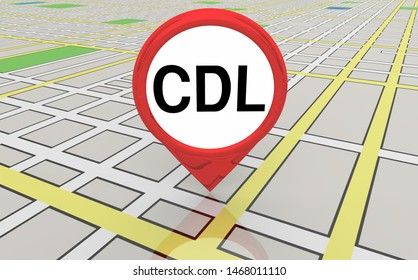 CDL Commercial Drivers License Course Map Pin 3d Illustration