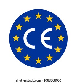 CE mark and symbol on the flag of Europe
