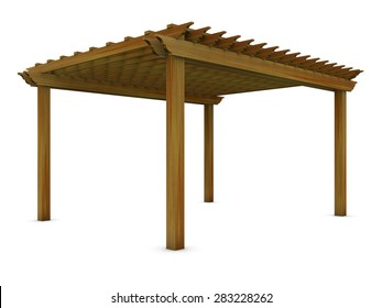Cedar wooden pergola on the white