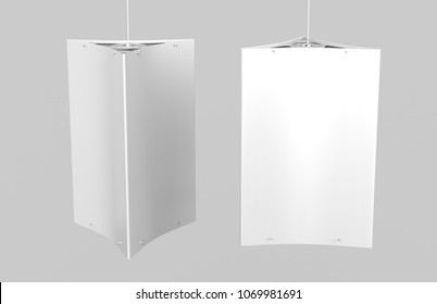 Ceiling Dangler Hardware Holds Three Graphic Panels. 3d render illustration.