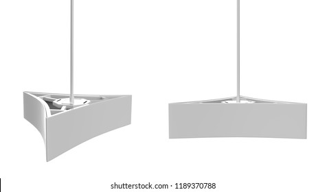 Ceiling Dangler Hardware Holds Three Graphic Panels. 3d illustration