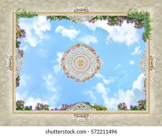 The ceiling with painted plaster, sky and flowers.