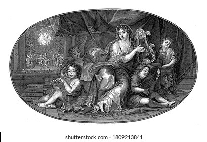 Ceiling piece with the personification of Music playing the lyre. Also the portrait of Madame de Maintenon, second wife and mistress of Louis XIV, vintage engraving.
