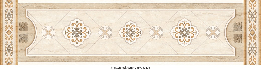 ceiling, stucco decor frame in the middle on marble background.