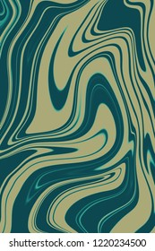 Celadon and ochre digital background from curved lines. Illustration