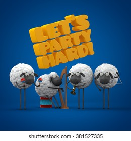 Celebrate banner. Sheep music band. Illustration for greeting card, invitation on birthday party or other event. 3d graphic.