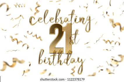 Celebrating 21st birthday gold greeting card with confetti. 3D Rendering