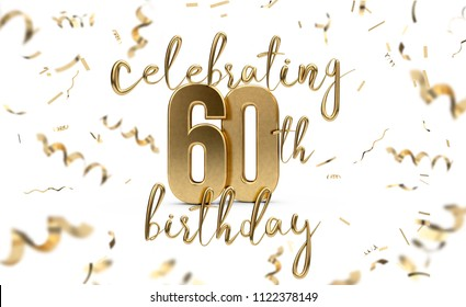 Celebrating 60th birthday gold greeting card with confetti. 3D Rendering