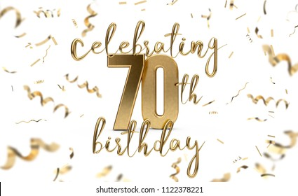 Celebrating 70th birthday gold greeting card with confetti. 3D Rendering