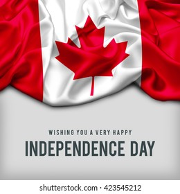 Celebrating Canada Independence Day. Abstract waving flag on gray background