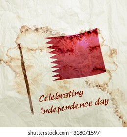 Celebrating Independence day Text. Qatar Flag on Watercolor Grunge paper background