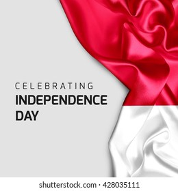 Celebrating Indonesia Independence Day. Abstract waving flag on Gray background