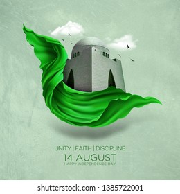 Celebrating Pakistan Independence Day. 14th August pakistan independence with creative typography