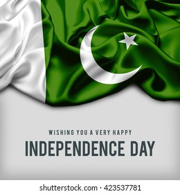 Celebrating Pakistan Independence Day. Abstract waving flag on gray background