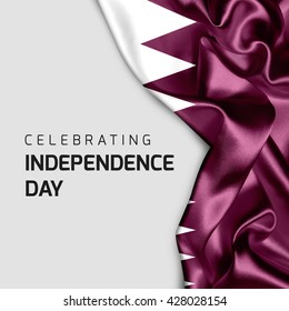 Celebrating Qatar  Independence Day. Abstract waving flag on Gray background