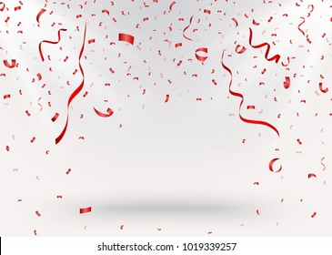 Celebration background with red confetti