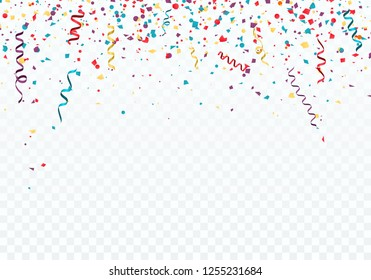 Celebration or festival background template with falling confetti and ribbons. illustration