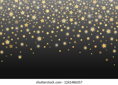 Celebration golden stars confetti abstract. Festive sparkling garland shiny magical winter dark grey background. Christmas and New Year holiday gold star confetti concept