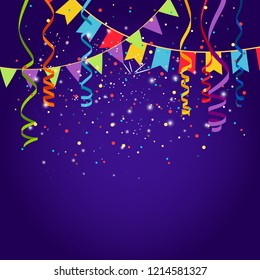 Celebration purple background with bounting flags, illustration