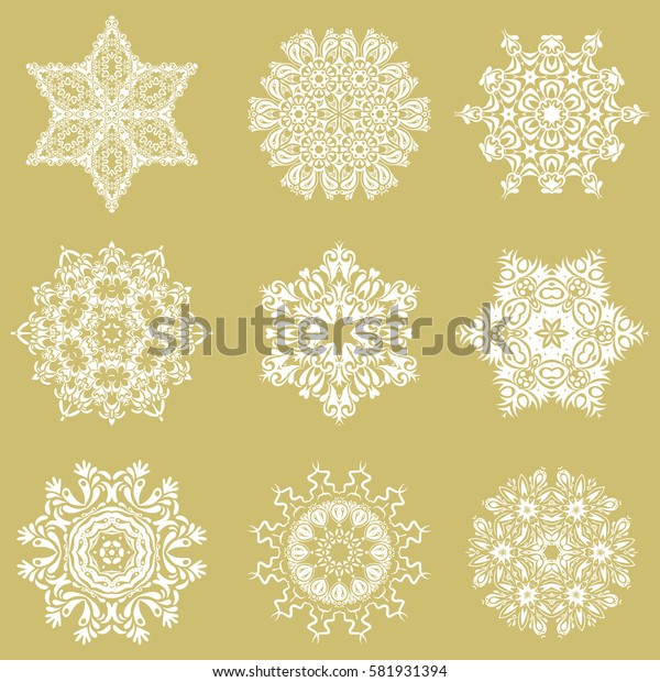 Celebratory set with 9 snowflakes. On a neutral background.