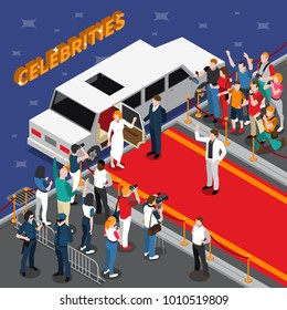 Celebrities on red carpet isometric composition with white limousine guards admirers photographers reporters police 3d  illustration