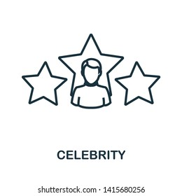 Celebrity icon. Outline style thin design from influencer icons collection. Line Celebrity icon for web design, apps, software, print usage.