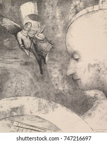 The Celestial Art, by Odilon Redon, 1894, French Symbolist print, lithograph. Anticipating Surrealism, Redons lithograph juxtaposed a floating winged figure playing a violin with an hairless human hea