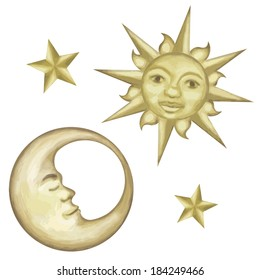 Celestial Painted Storybook Sun Moon and Stars Illustration