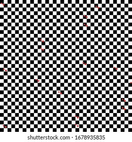 Cell chess board background with some red hearts